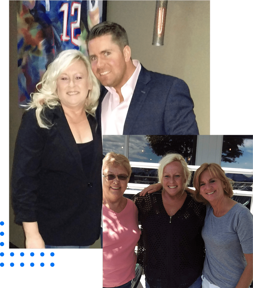 Sandra with friends before the weight loss